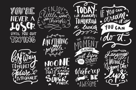 Ensemble de citations de motivation. Illustration moderne de lettrage à la main pour votre conception. Vecteurs