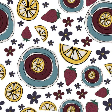 Tea, strawberry  , flowers relax seamless pattern for your design: posters, banners, mock ups
