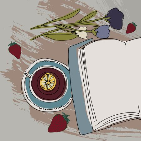 Tea, book, flowers relax illustration for your design: posters, banners, mock ups 矢量图像