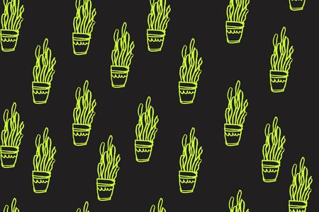 Cactus hand drawn illustration for your design: wallpapers, textile. Seamless pattern