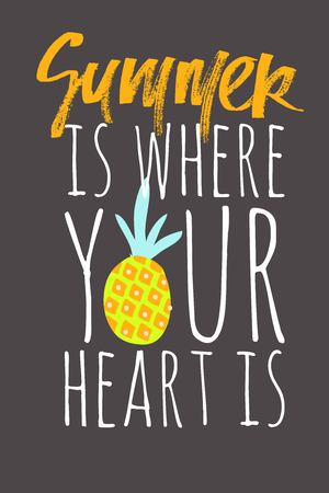 Summer is where your heart is. Summer hand lettering quote for your design: cards, posters 矢量图像