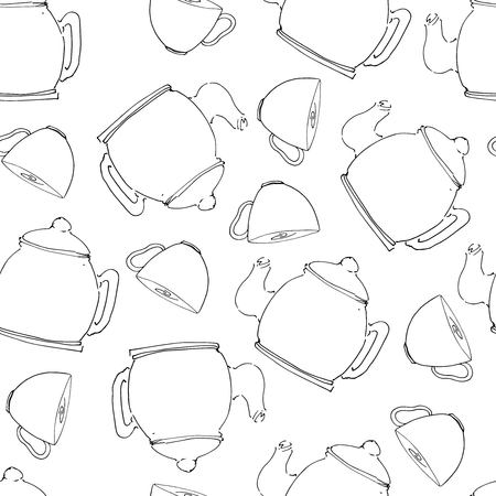 Tea pot  hand drawn seamless pattern for your design: cafe menu, banner