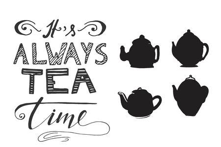 Tea is always a good idea. Tea pot set for your design: posters, website, menu
