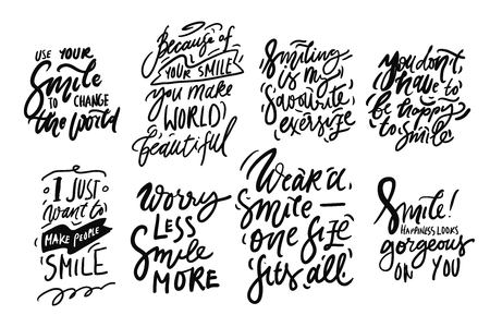 Smile. Hand lettering quote for your design. Motivation quote