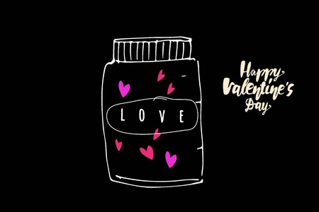 Valentine's day card. Hand drawn illustration for your design: web, posters, cards 矢量图像