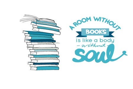 A room without book is like a body without soul. Hand drawn book illustration for your design: posters, cards 矢量图像