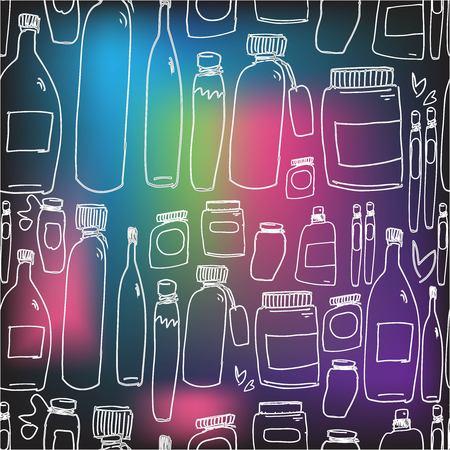 Botttles hand drawn illustration set for your design posters, textile, website