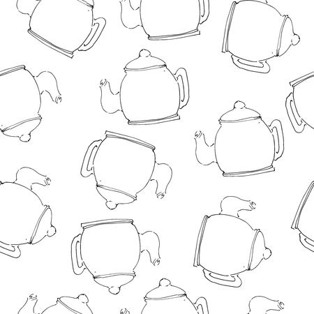 Tea pot  hand drawn illustration for your design: cafe menu, banner