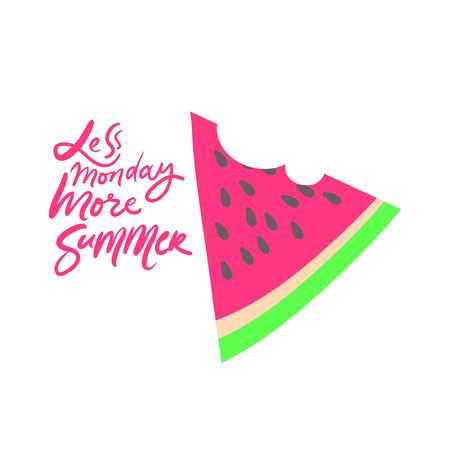 Less monday, more summer.. Summer quote hand lettering for your design: poster, card 免版税图像