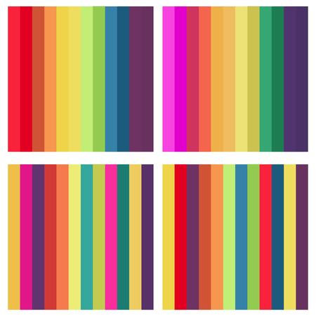 Rainbow strips seamless background set for your design: poster, card, wallpaper 矢量图像