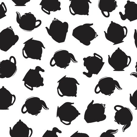 Tea pot seamless pattern for your design: posters, website, menu 矢量图像