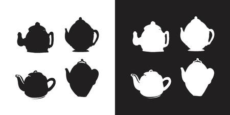 Tea pot set for your design: posters, website, menu 矢量图像