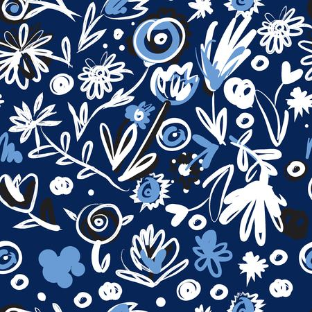 hand drawn imagine flowers set for your design. Seamless pattern