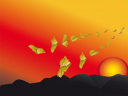 petiole: autumn;the h of the setting sun leaves fly away Illustration