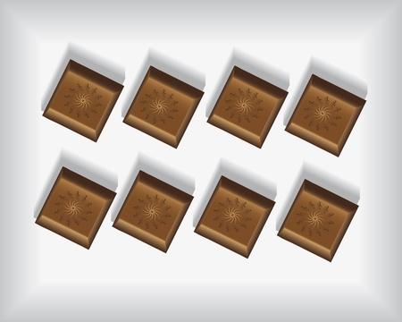 allspice: chocolates on the white tray Illustration