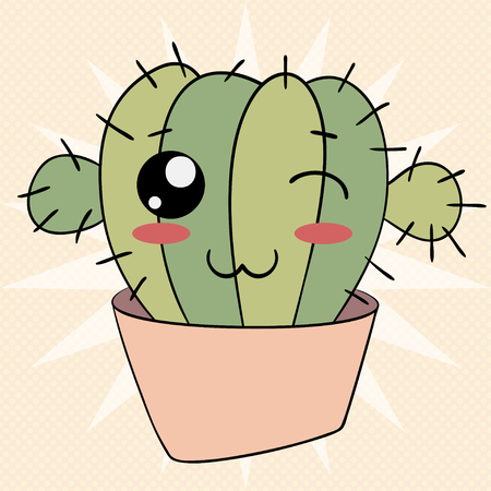 Cute cactus emoji icon funny character flat vector design