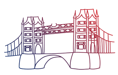 Tower Bridge London vector drawing by hand sights England Great Britain Westminster Ilustrace