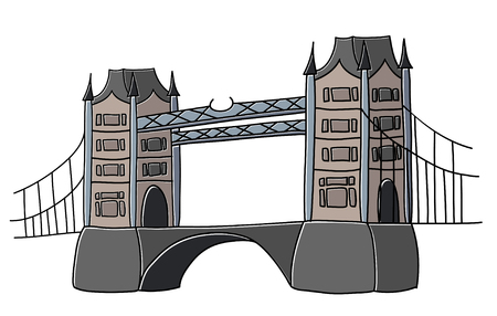 Tower Bridge London vector drawing by hand sights England Great Britain Westminster Illustration