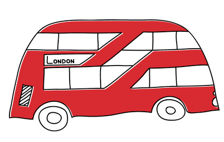 Bus London vector drawing by hand sights England Great Britain Westminster