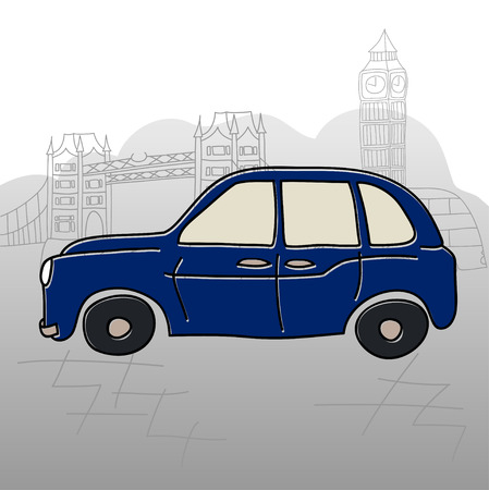 Taxi cab London vector drawing by hand sights England Great Britain Westminster