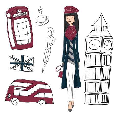 London fashion girl vector drawing by hand sights England Great Britain Westminster