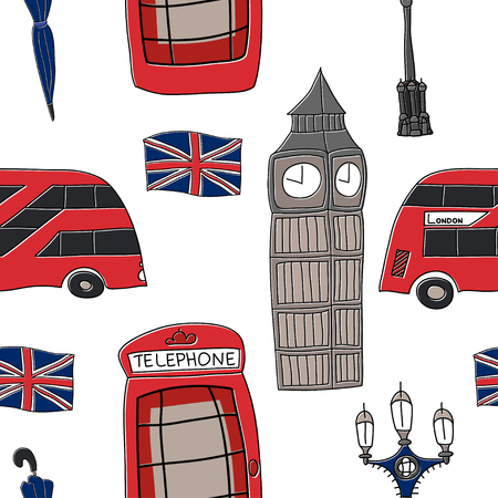 London seamless pattern vector drawing by hand sights England Great Britain Westminster