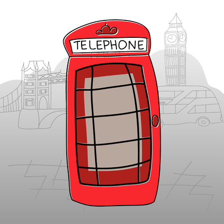 Phone boothLondon vector drawing by hand sights England Great Britain Westminster 向量圖像