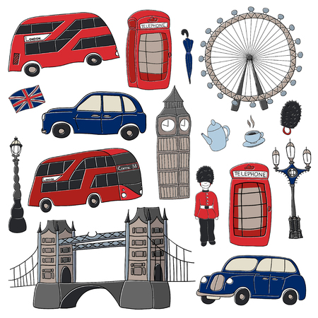 London vector drawing by hand sights England Great Britain Westminster