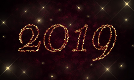 2019 new year golden sparks glowing text