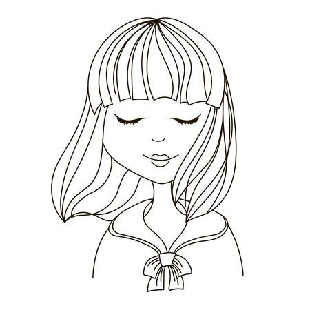 cute fashion japan girl hand draw art 向量圖像
