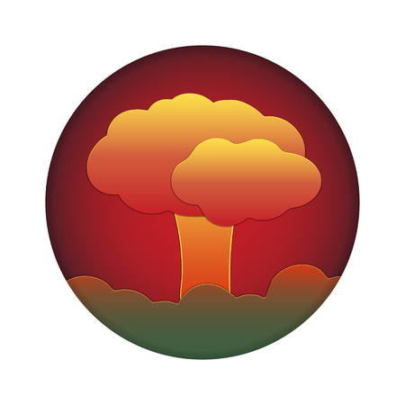 Nuclear explosion. Atomic bomb in city.Disaster. Paper cut