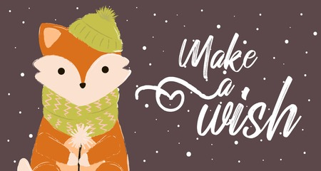 fox card winter cute make a wish with 