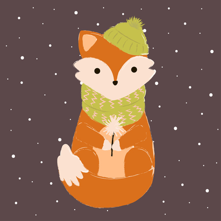 fox card winter cute make a wish with Standard-Bild - 127600562