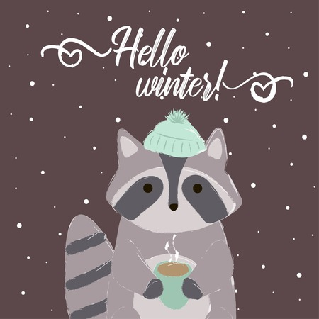 racoon card winter with cap hello winter