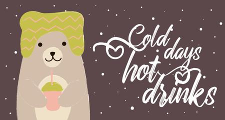 bear winter card cold days hor drinks cute