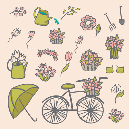 cute vector spring set flowers gardening and rainy days