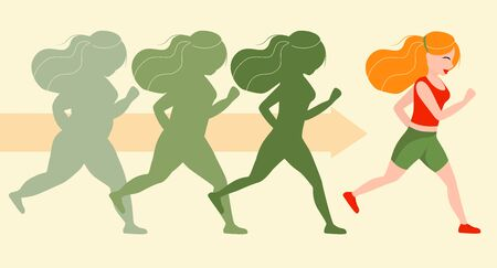 Running girl is loosing weight in proces. Stages of loosing weight. Great results in sports. Vector illustration for gym posters.Weight loss stages before and after 矢量图像