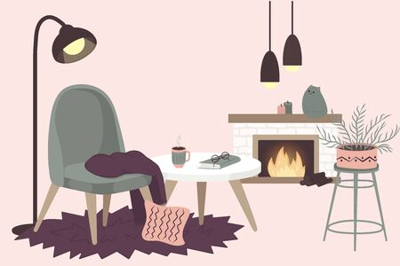 Scandinavian interior home decorations - wreath, cat, tree, gift, candles, table. Cozy Winter holiday season. Cute Hygge style. Vector. Isolated. Vektorové ilustrace