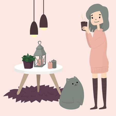 Cute girl with cat drink hot coffee tea cacao. Cozy winter.Hygga home style. Illustration in cartoon style. Ilustração