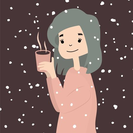 portrait of cute winter cartoon girl with coffee cup Foto de archivo - 133739489