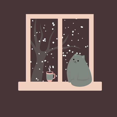 Cute cat by the window and hot coffee tea cacao. Cozy winter. Illustration in cartoon style. Vetores