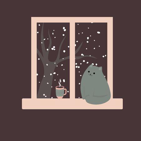 Lindo gato junto a la ventana y café caliente, té, cacao. Invierno acogedor. Ilustración en estilo de dibujos animados. Ilustración de vector