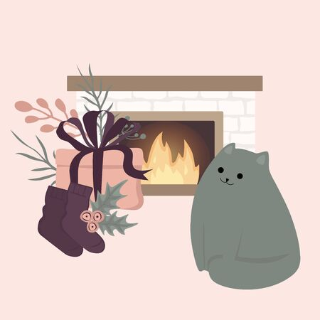 Scandinavian interior home decorations - wreath, cat, tree, gift, candles, table. Compositions. Cozy Winter holiday season. Cute Hygge style. Vector. Isolated.