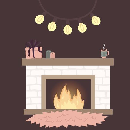 Scandinavian interior home decorations - wreath, cat, tree, gift, candles, table. Cozy Winter holiday season. Cute Hygge style. Vector. Isolated.