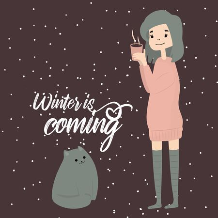 Winter is coming quote girl with cat winter cozy time snowflakes with hot drink Foto de archivo - 133739501