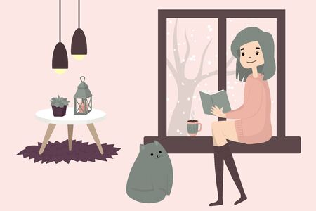 Cute girl sitting with cat by the window and reading. Cozy winter. Illustration in cartoon style.