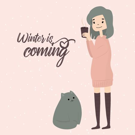 Winter is coming quote girl with cat winter cozy time snowflakes with hot drink