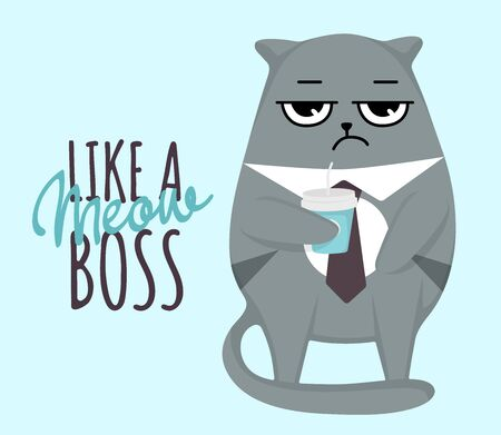 Grumpy cat with cup in tie like a meow boss card