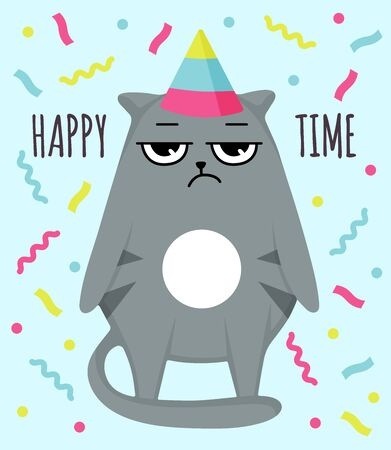 Grumpy cat invitation card. Let party. Happy time. Cat in cap. Party atribution. congratulatory postcards