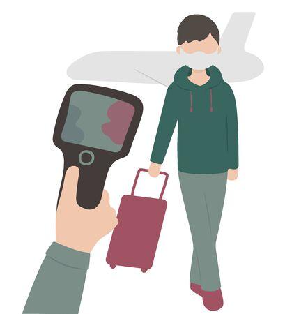 Virus. Flu. Illness. bacteria. infectionirus. Flu.Remote measurement of the temperature of passengers at the airport Ilustracja